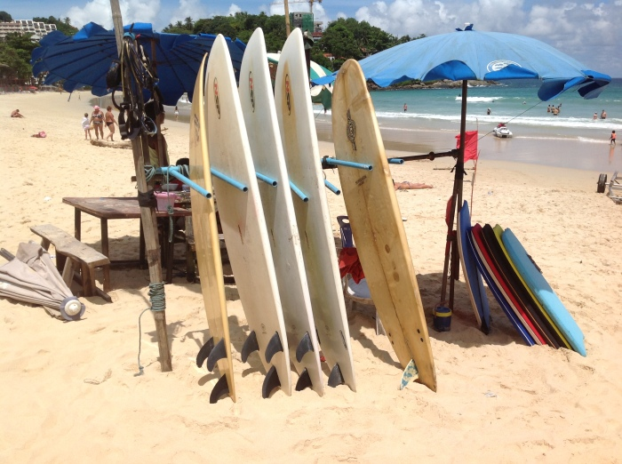 Surfing Experience in Kata Beach around Phuket, Thailand.