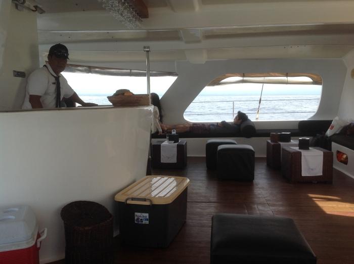 Catamaran's lounge