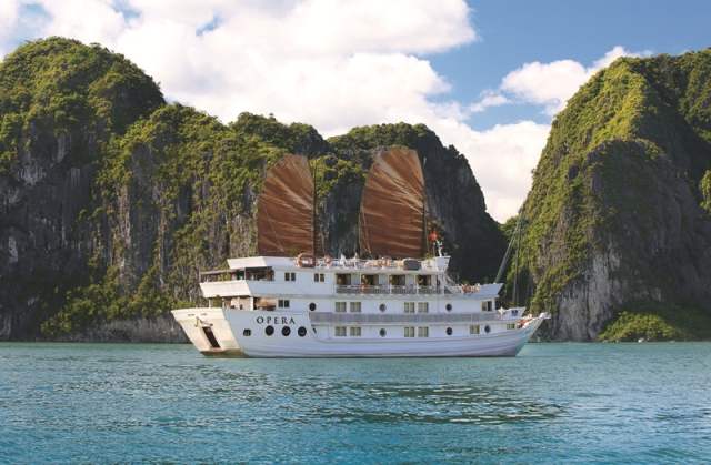 Cruise Traditional oriental-style boat. Top 10 Things to do in Vietnam.
